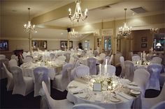 Here's a great example of Spandex chair covers in action!
