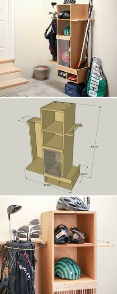DIY Sports Equipment Storage Locker | Clear the clutter in your garage or mudroom with this handy organization system for sports gear. Made from durable, inexpensive MDF and a couple of boards, it holds balls, bats, golf clubs, and more where they're easy to find when you want to use them, and easy to put away when you're done!