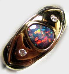 DAZZLING SUNSET RED FIRE BLACK OPAL 18K RING SIZE7.5 SCO2028 opal jewellery