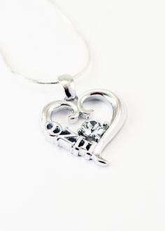 Theta Nu Xi Sterling Silver Heart Pendant with Swarovski Clear Crystal