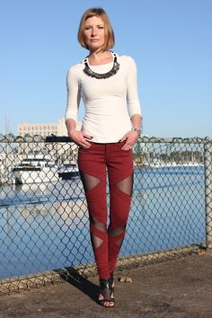 """Cutouts in denim...oxblood, the new """"it"""" color!"""
