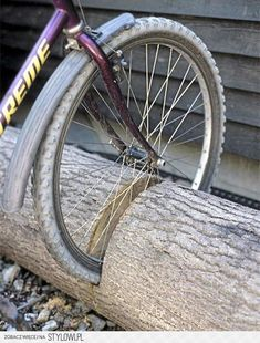 bike rack out of a log