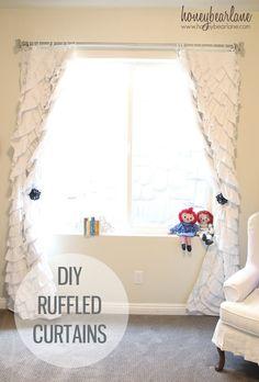 DIY Ruffled Curtains at www.honeybearlane......