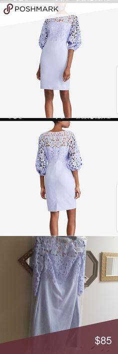 Ralph Lauren dress Puffed elbow-length sleeves and intricate lace create a striking mix of volume and texture in this elegant crepe dress. Slim fit. Intended to hit at the knee Ralph Lauren Dresses Midi