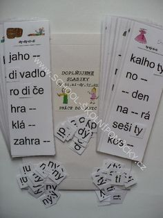 doplňujeme slabiky di,ti,ni - dy,ty,ny Montessori Activities, Activities For Kids, School Projects, Homeschool, Cards Against Humanity, Teacher, Education, Fitness, Literatura