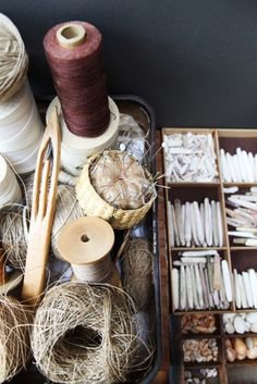 """Collection of Kay Sekimachi, Fiber artist. Berkeley, CA. Photograph by Leslie Williamson.  Another Williamson photograph of this collection is on the cover of American Craft magazine featuring """"Weaving the Sea. Kay Sekimachi Conjures Art from Shells and Bones"""" 2010."""