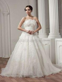 Ball Gown Strapless Organza Court Train Flower(s) Wedding Dresses -$266.49