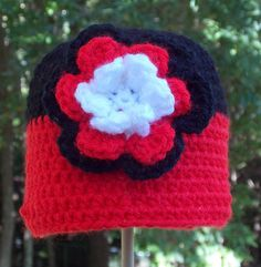 Red Black White Baby Girl Hat ready to ship by sweetpeacollections, $12.00