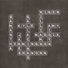 Personalized Modern Family Tree --30 plus names--(Scrabble or Crossword). $21.95, via Etsy.