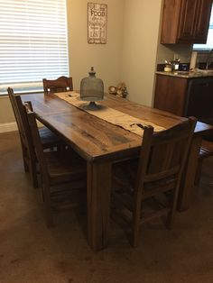 Handmade rustic oak dining table with bench and chairs