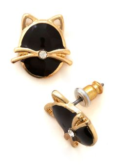 Moonlit Whiskers Earrings. Tonight, youre feline oh-so adorable with these glossy black cat earrings adorning your look! #black #modcloth