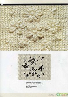 Guide Points in Crochet Embroidery Knitting - Crochet Patterns Wool Embroidery, Hand Embroidery Designs, Ribbon Embroidery, Embroidery Stitches, Embroidery Patterns, Crochet Stitches Patterns, Stitch Patterns, Knitting Patterns, Arm Knitting
