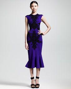 Spine Intarsia-Knit Flounce Dress, Purple/Black, from Alexander McQueen, $2240