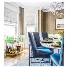 Another dinning room but this one with Roman shades made from Bosky Toile in bare  via Robin S..m.anderson  #eskayel #eskayeltextiles #windowtreatments #romanshades