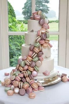 Macaron tower cake, perfect for a pastel themed wedding.