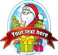 Weihnachten-Etikett mit Weihnachtsmann und Geschenke photo