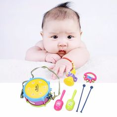 5pcs/set Musical Instruments Playing Set Colorful Educational Toys Drum/Handbell /Trumpet/Sand Hammer/DrumSticks Drop Shipping