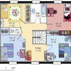Plan habillé Etage - maison - Maison à étage 1