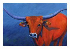 Original oil of a Texas Longhorn Steer by TexGalArt on Etsy, $150.00