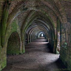 Cellarium at Fountains Abbey ,North Yorkshire, England.