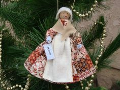 Prairie clothespin doll ORNAMENT- patchwork dress - by Cheryl B.