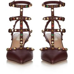 Valentino Rolling Rockstud leather pumps ($475) ❤ liked on Polyvore featuring shoes, pumps, heels, high heels, high heel pumps, burgundy leather shoes, strap pumps, valentino shoes and burgundy shoes