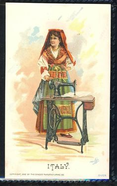Italy Woman Standing National Costume Singer Sewing Machine Trade Card | eBay