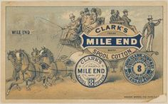 thread Advertising Trade card Clark's stagecoach