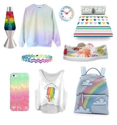 """""""Rainbow"""" by frankie-tyson ❤ liked on Polyvore featuring interior, interiors, interior design, home, home decor, interior decorating, Universal Lighting and Decor, BucketFeet, Les Petit Joueurs and Kess InHouse"""