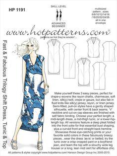 HP 1191 Fast & Fabulous Trilogy Shift Dress, Tunic & Top - HotPatterns.com