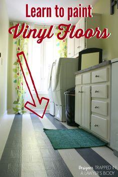 Learn how to paint vinyl floors with this full tutorial diy flooring Linoleum Flooring, Diy Flooring, Penny Flooring, Ceramic Flooring, White Flooring, Plywood Floors, Brick Flooring, Bedroom Flooring, Flooring Ideas