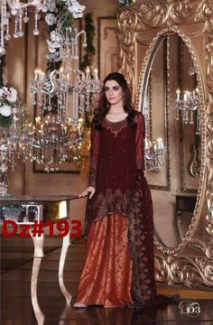Maria B Mbroidered Chiffon Eid Collection 2017 With Prices & Stitching Online Buy in New Zealand, Fiji, Japan. Pakistani Dresses Online, Pakistani Wedding Outfits, Eid Dresses, Bridal Dresses, Chiffon Dresses, Wedding Hijab, Pakistani Clothing, Desi Wedding, Party Dresses