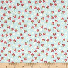 Picnic In The Park Strawberry Blue from @fabricdotcom  Designed by Lewis and Irene, this cotton print fabric is perfect for quilting, apparel and home decor accents. Colors include red, white and blue.