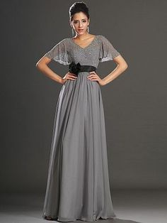 Beaded-Butterfly-Sleeves-V-Neck-Chiffon-Mother-of-the-Bride-Dress-with-Floral-Sash-(1).jpg 375×500 pixels