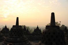In het pikkedonker wacht je op de eerste haan die gaat kukelen, luister je naar de oproep van de moskee voor het eerste gebed en zie je langzaam de nacht verdwijnen. De Borobudur sunrise is begonnen. #travel #borobudur #java #indonesie #indonesia #sunrisetour