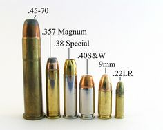 Bullets: the 40 cal S&W and the 9mm Luger are the best for concealed carry pistols.