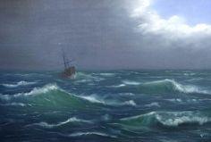 Schilderij van een schip op zee na de storm. Olieverf op canvas van 115 x 75 cm (eventueel inclusief drijfhouten lijst).