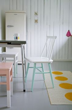 Paint kitchen chair legs a bright accent shade