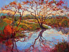 Madronas Marsh original oil painting by Los Angeles artist Erin Hanson