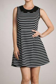Striped A-line Dress with Crochet Collar – Loves Creation.. ORDER SOON on www.lovescreation.org #onlineshopping #christmaslist #lovescreationisback