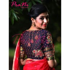 Shop for a variety of blouses in high neck, sleeveless, boat neck, sleeveless, embroidered & more online. Blouse Back Neck Designs, Blouse Designs Silk, Bridal Blouse Designs, Blouse Patterns, Choli Blouse Design, Saree Blouse, Saree Gown, Lehnga Dress, Lehenga