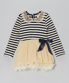 Navy Stripe Sequin Collar Tutu Dress - Toddler & Girls