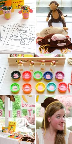 I also like the idea of the party favours being playdough with the monkey faces on the top.