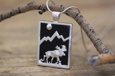 Large Sterling Silver Rectangular Onyx Moose Pendant with Sapphire – Jackson Hole Jewelry Company