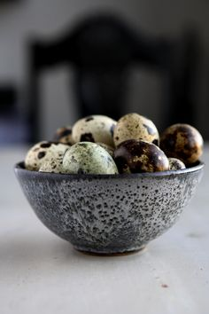 quail eggs.    hardboiled; bring to a boil, turn off heat, leave on burner for 5 minutes, submerge in cool water, peel