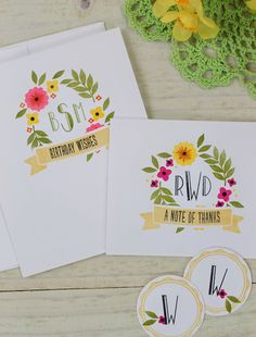 Dawn Woleslagle for Wplus9 featuring Fresh Cut Florals, Monogrammed and Basic Banners stamp sets.