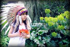 Little girl, indian headdress, feather hat, cowboys, indians, photoshoot, dream catcher, tropical plants, flowers, gardens