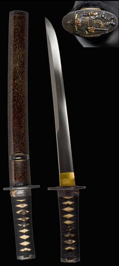 WAKIZASHI, Sword: 17th century  Japan (Edo Period: 1603-1867)  Steel, gold, copper and gold alloy, ray skin, silk, lacquered wood, polished horn.