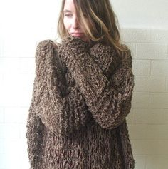 Brown Grunge oversized sweater Ltd Edition by ileaiye on Etsy,