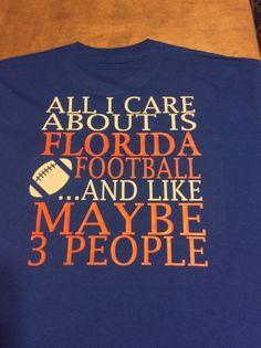 Florida Gators cute shirt.  All I care about Florida Football  University by pigsandpupsvinyl